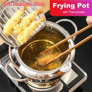 304 Kitchen Deep Frying Pot Tempura Fryer Pan Temperature Pot Cooking Tools UK.