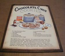 """9x11""""  Primitive  Vintage Country Kitchen CHOCOLATE CHIP COOKIES Recipe Sign"""