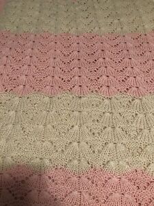 HAND KNITTED PINK AND WHITE BABY BLANKET - FAN STITCH DESIGN