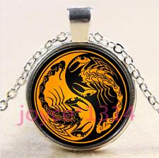 Yin Yang Scorpion Cabochon Tibetan silver Glass Chain Pendant Necklace #4193