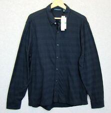 New Perry Ellis Mens Large Button Down Knit Dress Shirt Navy Blue Textured $69