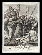 santino incisione1800  S.ANTONIO DA PADOVA LIBERA IL PADRE DALLA MORTE