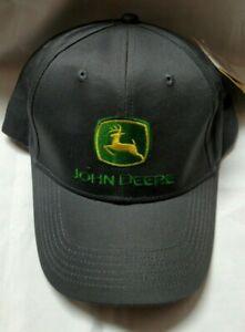 JOHN DEERE GRAY BASEBALL HAT/CAP-NOTHING RUNS LIKE A DEERE-ADJUSTABLE
