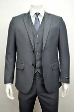Men's Charcoal Gray 3 Piece 2 Button Slim Fit Suit SIZE 36S NEW