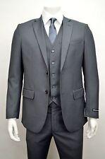 Men's Charcoal Gray 3 Piece 2 Button Slim Fit Suit SIZE 44L NEW
