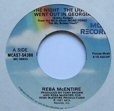 """REBA McENTIRE - The Night The Lights Went Out In Georgia - Ex Con 7"""" Single MCA"""