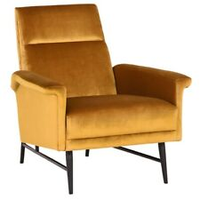 "32.3"" W Occasional Chair Fully Upholstered Velour High Back Modern Metal Legs"