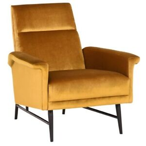 """32.3"""" W Occasional Chair Fully Upholstered Velour High Back Modern Metal Legs"""