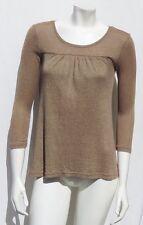 MICHAEL STARS USA #0167 Gold Brown Cotton Shine Tee Shirt Top size S M EUC