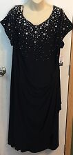 Alex Evenings Women's Plus Size Formal Dress Sz 24 W Black Beaded Jeweled NWT