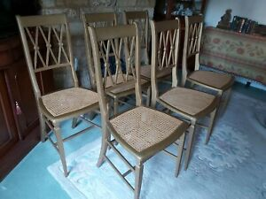 Vintage Wood Dining Chairs with Cane Seats x 6