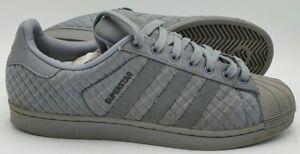 Adidas Superstar Low Nylon/Leather Trainers S76809 Grey UK9/US9.5/EU43