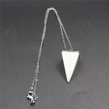 Natural Gemstone Crystal Quartz Healing Reiki Pendulum Pendant Chain Necklace HQ