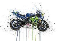 Rossi MotoGP Bike MotoGP Water Colour Splatter Drip Wall Art Print Picture