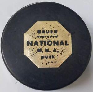 SCARCE VINTAGE BAUER APPROVED NATIONAL NHA HOCKEY PUCK CZECHOSLOVAKIA + HOLE!