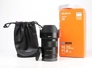 Sony FE 55mm F1.8 ZA Zeiss Sonnar T* - E Mount Lens + F/R Lens Caps + Hood + Box