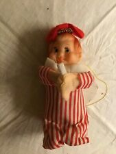 VINTAGE Japan red striped angel Christmas ORNAMENT rubber face w candle & wings