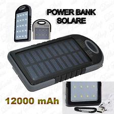 PowerBank12000mAh SOLARE Batteria TorciaLED Cellulari Smartphone Tablet MP3 Heng