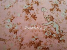 Angels and flower, pink, 1/2 yard, pure cotton fabric