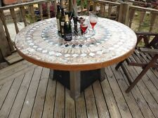 large handmade bespoke ,stone tiled mosaic morrocan style out door patio table