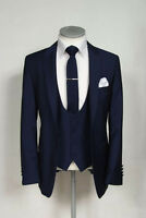 Men Blue Designer Wedding Grooms Tuxedo Dinner Casual Suit (Jacket+Vest+Pants)