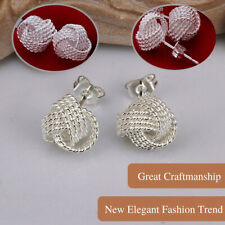 925 Sterling Silver Twisted Grid Tennis Net Knotted Woven Ball Knit Stud Earring
