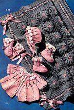 Vintage Crochet Pattern to make  Baby Sweater Set 1950's Vintage Baby Pattern