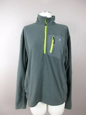 *EDDIE BAUER* SIZE L MENS GRAY/GREEN HALFZIP ATHLETIC WORK OUT SWEATER W/POCKETS