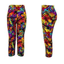 Snazzy's Multi Leaf Womens Teens kids Funky crop gym Yoga hippie cool fun pants