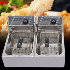 12l Electric Deep Fryer Dual Tank Stainless Steel Commercial Amp Restaurant 5000w