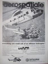 1/1982 PUB AEROSPATIALE HELICOPTERE AS332 SUPER PUMA OFFSHORE OIL ORIGINAL AD
