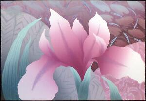 "Nancy Denison ""Kimono"" Hand Signed Serigraph Fine Art floral pink irises '86 OBO"