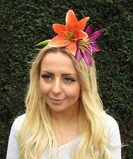 Large Orange Purple Lily Flower Fascinator Headpiece Headband Rockabilly 2037