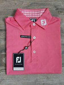 NEW FootJoy Mens Solid Lisle Gingham Trimmed Golf Polo Medium Pink Azalea 26079