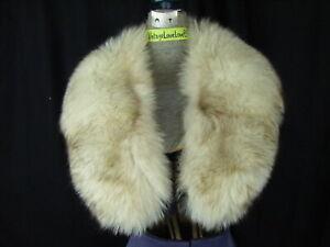"""Vintage Ivoire Marron Bouts Fox Fourrure Large Col Enveloppant W/Lined- 40 """""""