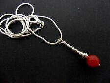A SILVER PLATED RED CARNELIAN PENDANT NECKLACE . NEW.