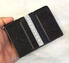 Genuine Stingray Wallets Vertical Skin Leather Black Pearl Men's Credit Card Bag