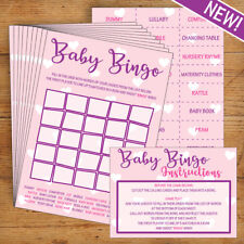Baby Shower Bingo - Pink/Girl- 20 Players - Perfect Party Game!