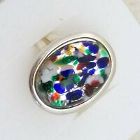 Vintage - 1950s Black Fire Opal Art Glass - Silver Plated Adjustable Ring