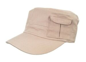 Military Style Fatigue Hat Pocket Khaki Beige Cadet Costume Cap Men Women Unisex