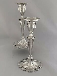 Pair Of Solid Silver EDWARDIAN STYLE Candlesticks 1960 Birmingham Sterling