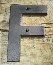 """Cast Iron Industrial LETTER F Sign Rustic Brown 5"""" tall Alphabet"""
