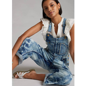 New Anthropologie Pilcro Relaxed Bleached Denim Overalls $168 SIZE 28