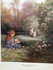 """FRAMED PRINT """"CHILDREN PICK WILD ROSES"""" BY W. KAY BLACKLOCK-------------------C2"""