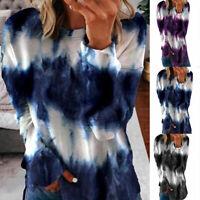 Women Autumn T Shirt Pullover Tunic Casual Tie-dye Print Long Sleeve Blouse Tops