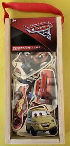 Walt Disney Pixar CARS 16 Piece Wooden Magnetic Cars Wood Box Carrying Case NEW