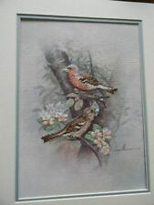 Completed Elsa Williams Colorart Cross Stitch Chaffinch Birds 14x18 Jca New