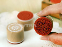 Retro Round Wooden Assorted Vintage Floral Pattern Rubber Stamp Scrapbook 6pcs