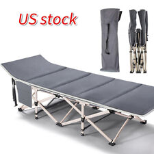 Portable Lightweight Stable Folding Bed Camping Cot with Carry Bag & Mattress