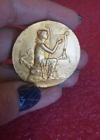 1909 Nude Lady French Art Nouveau Musical Golden bronze medal 40mm